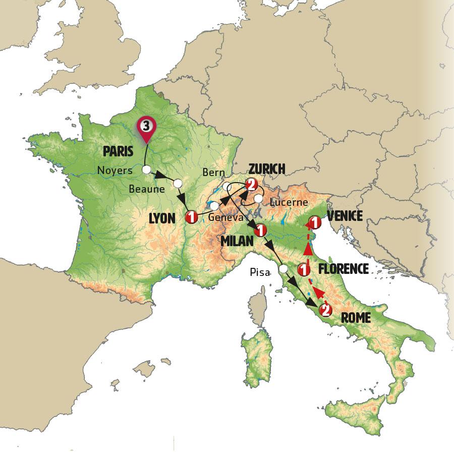 Circuito W Mapa : Harmonious europe europamundo vacations